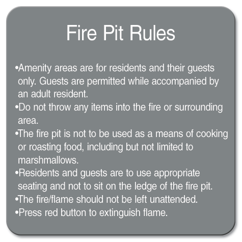AvalonBay Sign Store | fire pit rules sign property rules ...
